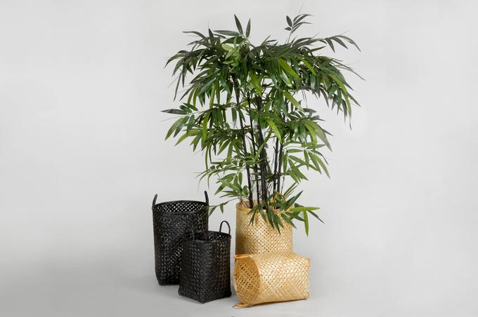 Bambus Korb Rund Natur Und Schwarz Home Living Room