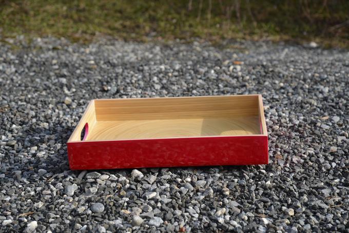 Bambus Tablett Eckig Rot Rampenverkauf