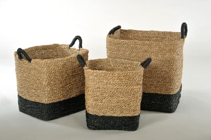 korb eckig mit griff seegras natur schwarz k rbe k rbe eckig. Black Bedroom Furniture Sets. Home Design Ideas